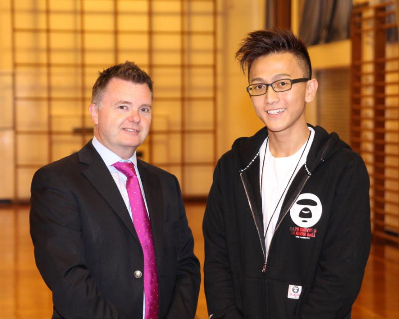 Mr Montgomery with Vincent who completed 5 A levels